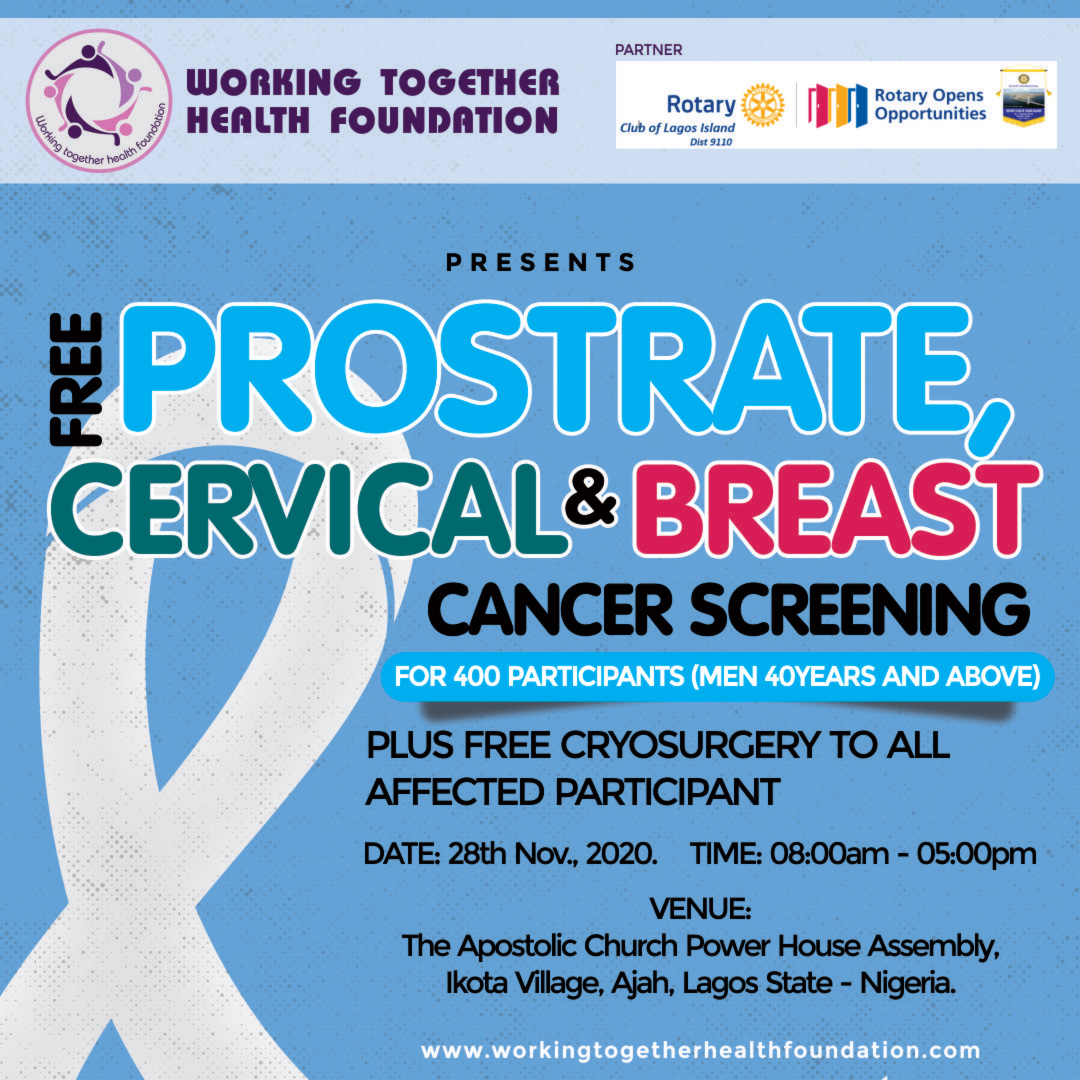Free Prostrate, Cervical and Breast Cancer Screening for 400 Participant