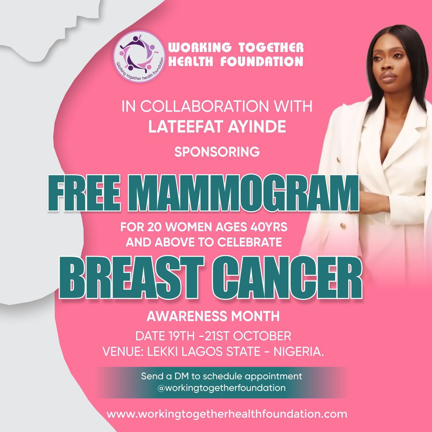 FREE MAMMOGRAM  for 20 Women Ages 40years and above to Celebrate BREAST CANCER AWARENESS MONTH